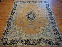 Load image into Gallery viewer, 9' X 12'6'' Persian Kerman Overall Semi-Antique Tan Rectangle Wool Rug
