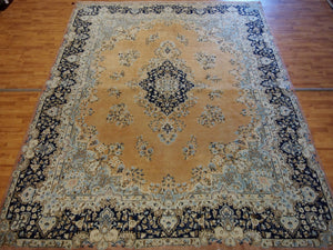 9' X 12'6'' Persian Kerman Overall Semi-Antique Tan Rectangle Wool Rug