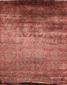 "7'9""x9'9"" Transitional Wool and Silk Hand-Knotted Rug - Direct Rug Import 