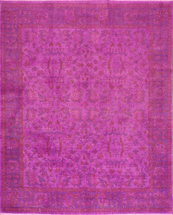 "7'9""x9'10"" Transitional Solid Purple Wool Hand-Knotted Rug"
