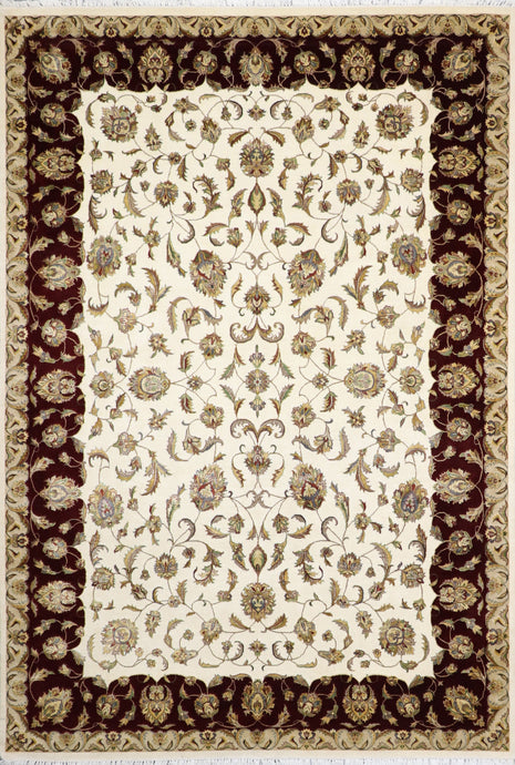 6'10'' X 10'7'' Tabriz Ivory Wool & Silk Hand-Knotted Rug