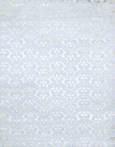"9'1""x11'9"" Contemporary Overall Blue Wool & Silk Hand-Knotted Rug"