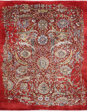 "Load image into Gallery viewer, 7'8""x9'9"" Transitional Red Wool & Silk Hand-Knotted Rug - Direct Rug Import 