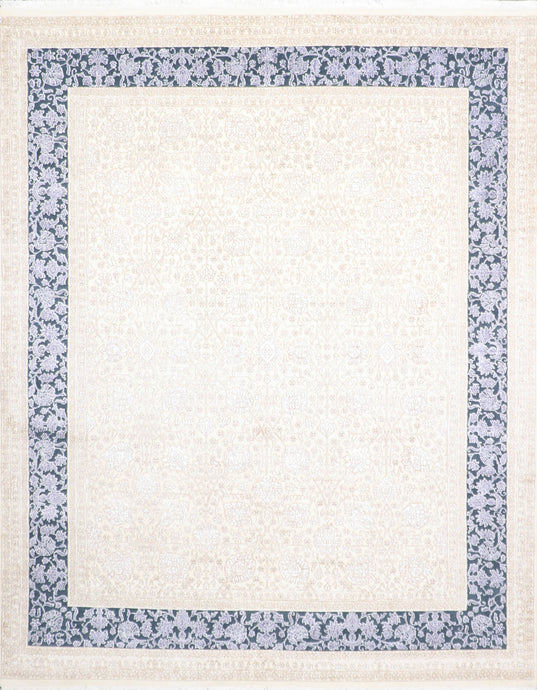 "7'10""x9'11"" Traditional Ivory Wool Hand-Knotted Rug"