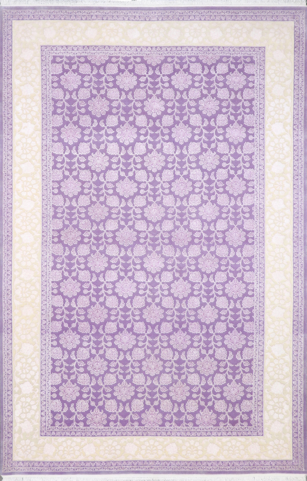 6'7'' X 10' Tone-On-Tone Lavender Wool & Silk Hand-Knotted Rug