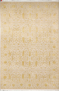 "3'11""x6'1"" Decorative Wool& Silk Taupe Hand-Knotted"