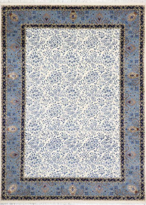"5'8""x8' Transitional Ivory Wool & Silk Hand-Knotted Rug - Direct Rug Import 