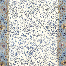 "Load image into Gallery viewer, 2'8""x9'10"" Traditional Ivory & Blue Wool & Silk Hand-Knotted Rug"