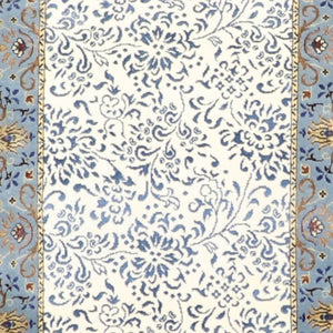 "2'8""x9'10"" Traditional Ivory & Blue Wool & Silk Hand-Knotted Rug"
