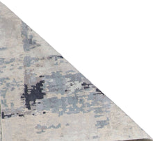 "Load image into Gallery viewer, 4'x11'10"" Contemporary Tan&Gray & Blue Wool & Silk Hand-Knotted Rug"