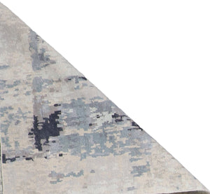 "4'x11'10"" Contemporary Tan&Gray & Blue Wool & Silk Hand-Knotted Rug"