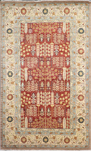"6'1""x9'5"" Traditional Rust Herati Wool Hand-Knotted Rug"