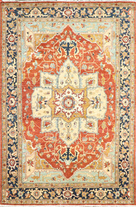 "6'1""x9'3"" Traditional Ivory Persian Wool Hand-Knotted Rug"