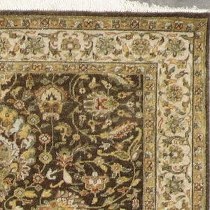 "4'1""x15' Classic Traditional Green Wool Hand-Knotted Rug"