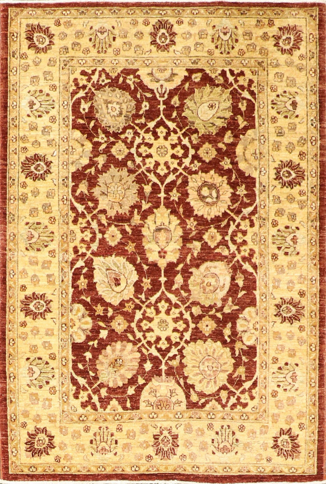 "4'1""x6'1"" Decorative Rust Hand Spun Wool Hand-Knotted Rug"