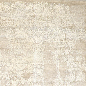"8'9""x12'7"" Transitional Gold and Cream Wool Hand-Knotted Rug"