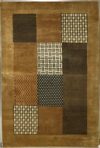 "5'7""x8'10"" Modern Square Brown Wool Hand-Knotted Rug - Direct Rug Import 