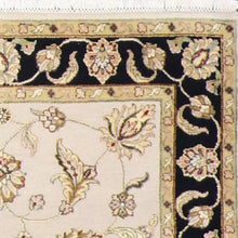 "Load image into Gallery viewer, 4'1""x6'2"" Traditional Cream and Gold Wool & Silk Hand-Knotted Rug"