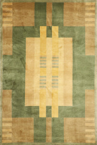 "5'6""x8'6"" Contemporary Green Wool Hand-Knotted Rug - Direct Rug Import 
