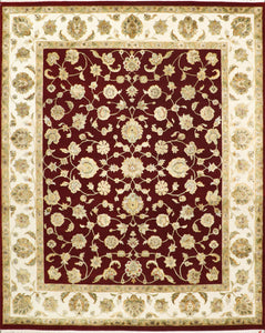 "8'1""x10' Traditional Red Wool & Silk Hand-Knotted Rug"