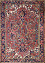 "Load image into Gallery viewer, 7'9""x11' Traditional Persian Serapi Red Wool Hand-Knotted Rug"
