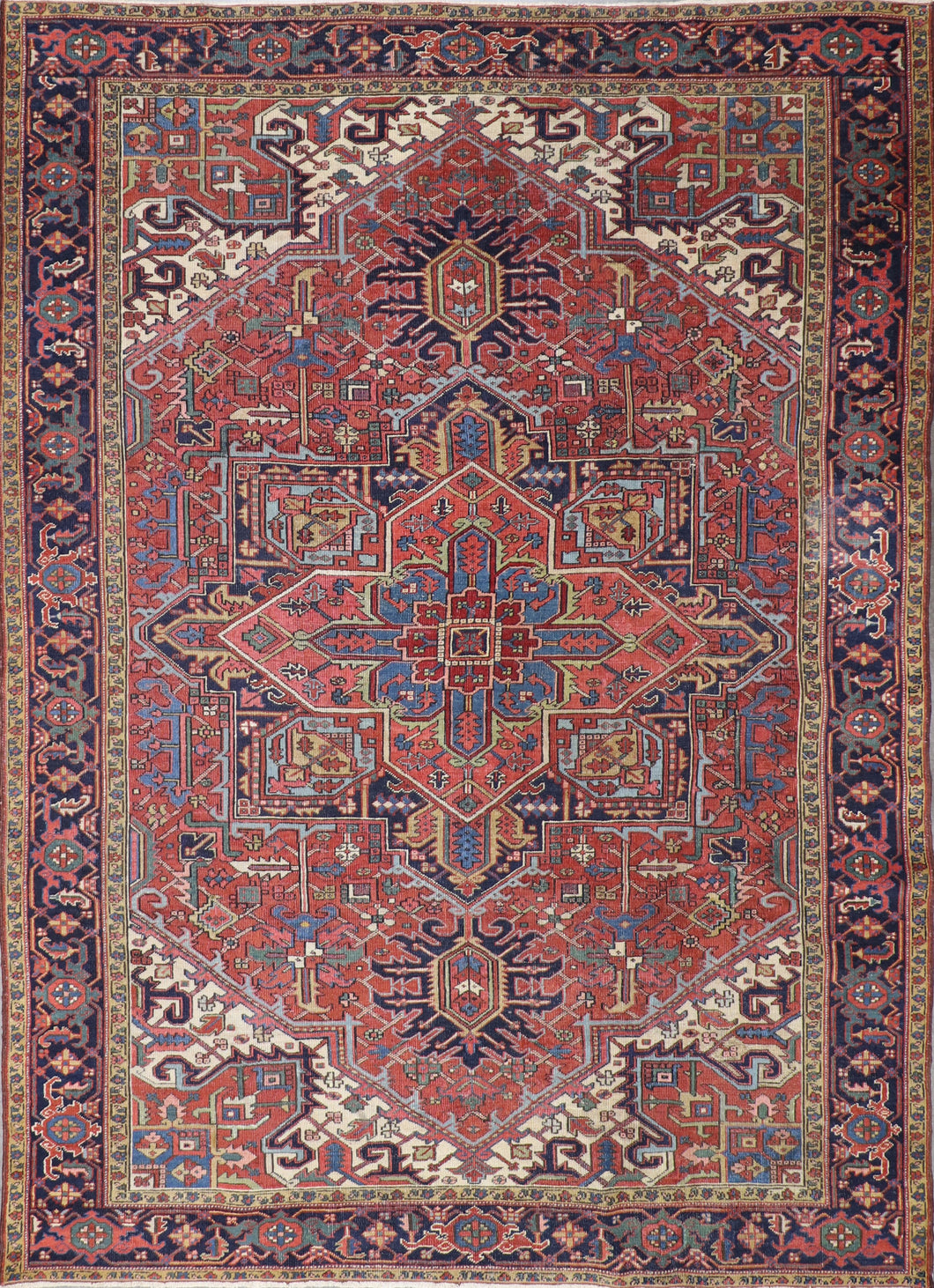 "7'9""x11' Traditional Persian Serapi Red Wool Hand-Knotted Rug"