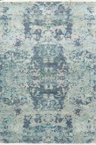 "3'11""5'11"" Transitional Gray-Blue Wool & Silk Hand-Knotted Rug"