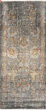 "Load image into Gallery viewer, 2'7""x10' Transitional Gray Wool & Silk Hand-Knotted Rug"