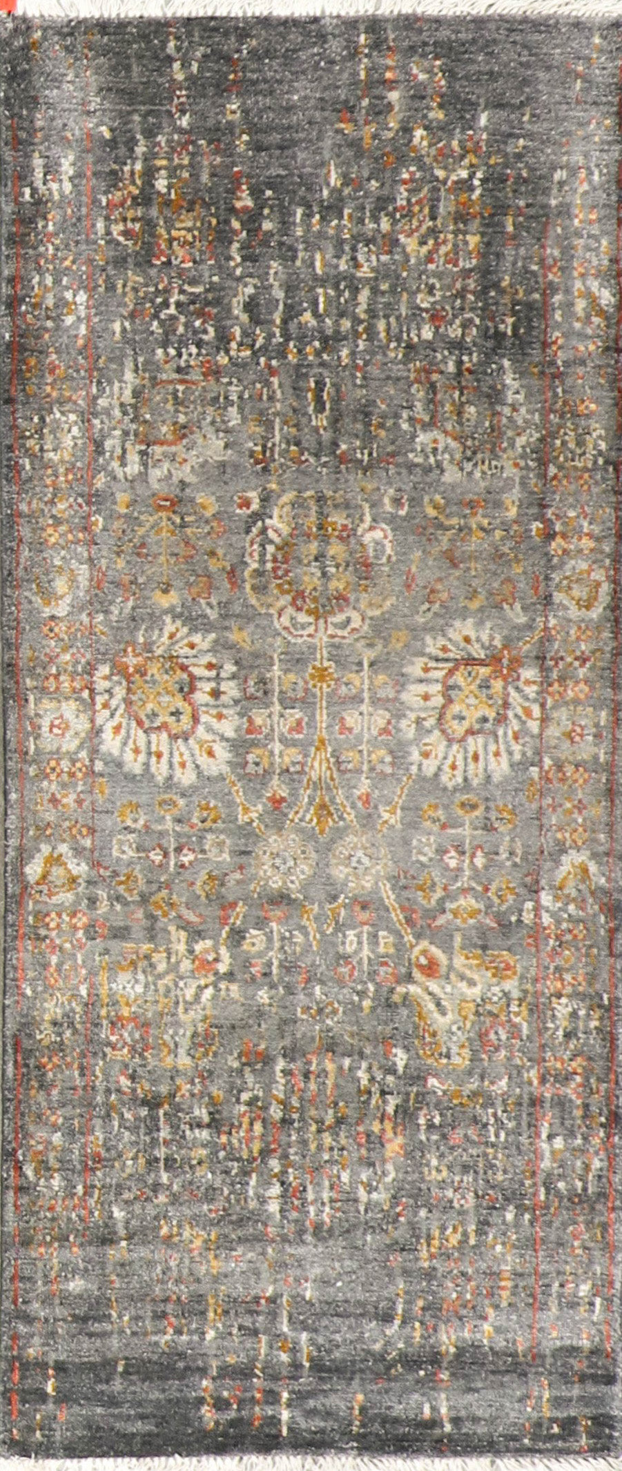 "2'7""x10' Transitional Gray Wool & Silk Hand-Knotted Rug"