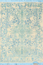 "Load image into Gallery viewer, 4'1""x5'11"" Transitional Ivory Blue Green Wool & Silk Hand-Knotted Rug"