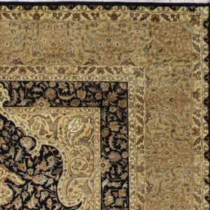"8'1""x10'2"" Traditional Black Wool & Silk Hand-Knotted Rug"