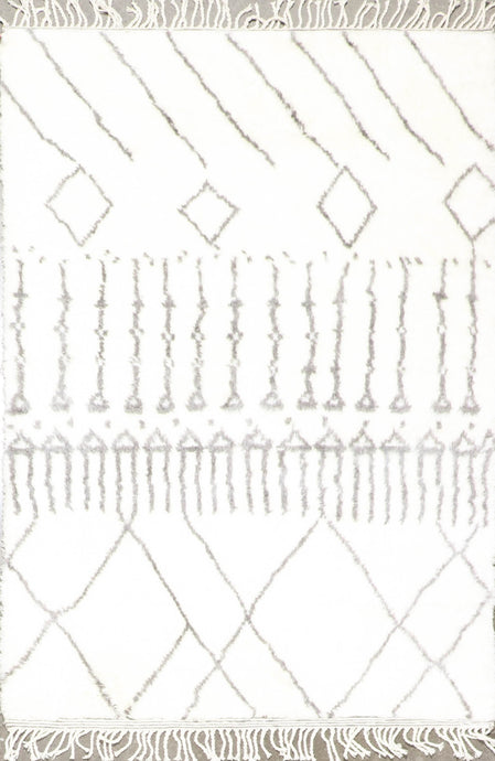 "4'2""x6'1"" Contemporary Ivory Moroccan Wool Hand-Knotted Rug"