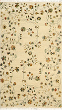 "Load image into Gallery viewer, 4'x6'10"" Decorative Tan Wool & Silk Hand-Knotted Rug"