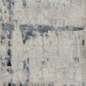 "4'x11'10"" Contemporary Tan&Gray & Blue Wool & Silk Hand-Knotted Rug - Direct Rug Import 
