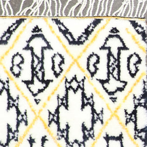 "4'1""x6'1"" Contemporary Yellow Black Wool Hand-Knotted Rug"
