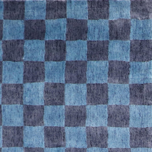 "5'1""x8' Contemporary Blue Bamboo Silk Hand-Knotted Rug"