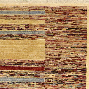 "5'7""x7'7"" Contemporary Tan Wool Hand-Knotted Rug"