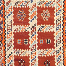 "Load image into Gallery viewer, 5'2""x9'2"" Persian Kilim Rust Wool Hand-Knotted Rug"