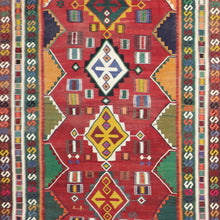 "Load image into Gallery viewer, 5'x9'8"" Persian Kilim Red Wool Hand-Knotted Runner"
