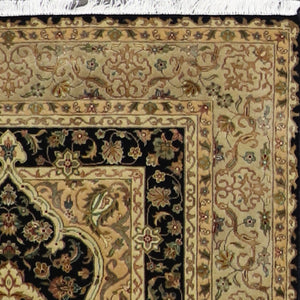 "4'4""x6'2"" Traditional Tabriz Wool & Silk Black Hand-Knotted Rug - Direct Rug Import 