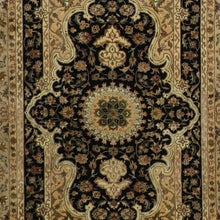 "Load image into Gallery viewer, 4'4""x6'2"" Traditional Tabriz Wool & Silk Black Hand-Knotted Rug - Direct Rug Import 