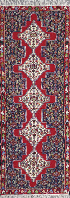 "2'9""x6'11"" Persian Kilim Red Wool Hand-Knotted Runner"