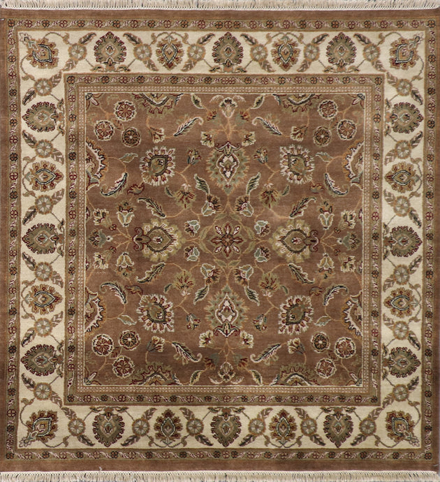 "6'1""x6'1"" Traditional Brown Kashan Wool Hand-Knotted Rug"