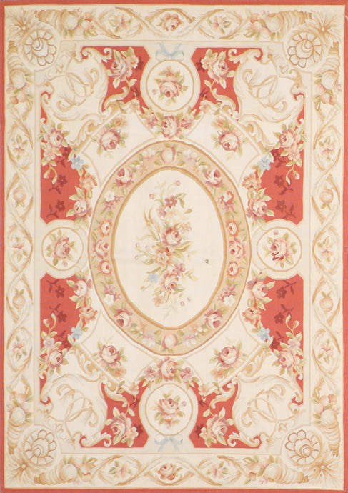 "4'10""x6'9"" Aubusson Ivory-Gold Wool Hand-Knotted Rug"