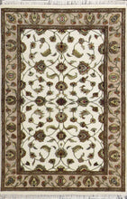 "Load image into Gallery viewer, 4'x6'2"" Traditional Ivory Wool & Silk Hand-Knotted Rug - Direct Rug Import 