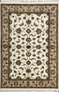 "4'x6'2"" Traditional Ivory Wool & Silk Hand-Knotted Rug - Direct Rug Import 