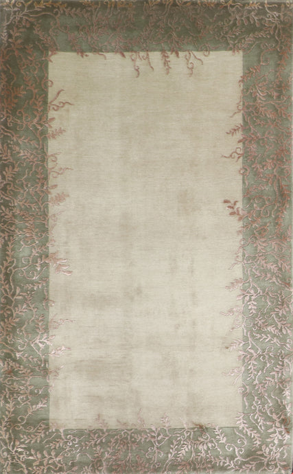 "4'x7'8"" Transitional Green Nepal Wool & Silk Hand-Knotted Rug"