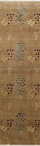 "2'1""x10'1"" Decorative Brown & Blue Wool & Silk Hand-Knotted Rug - Direct Rug Import 