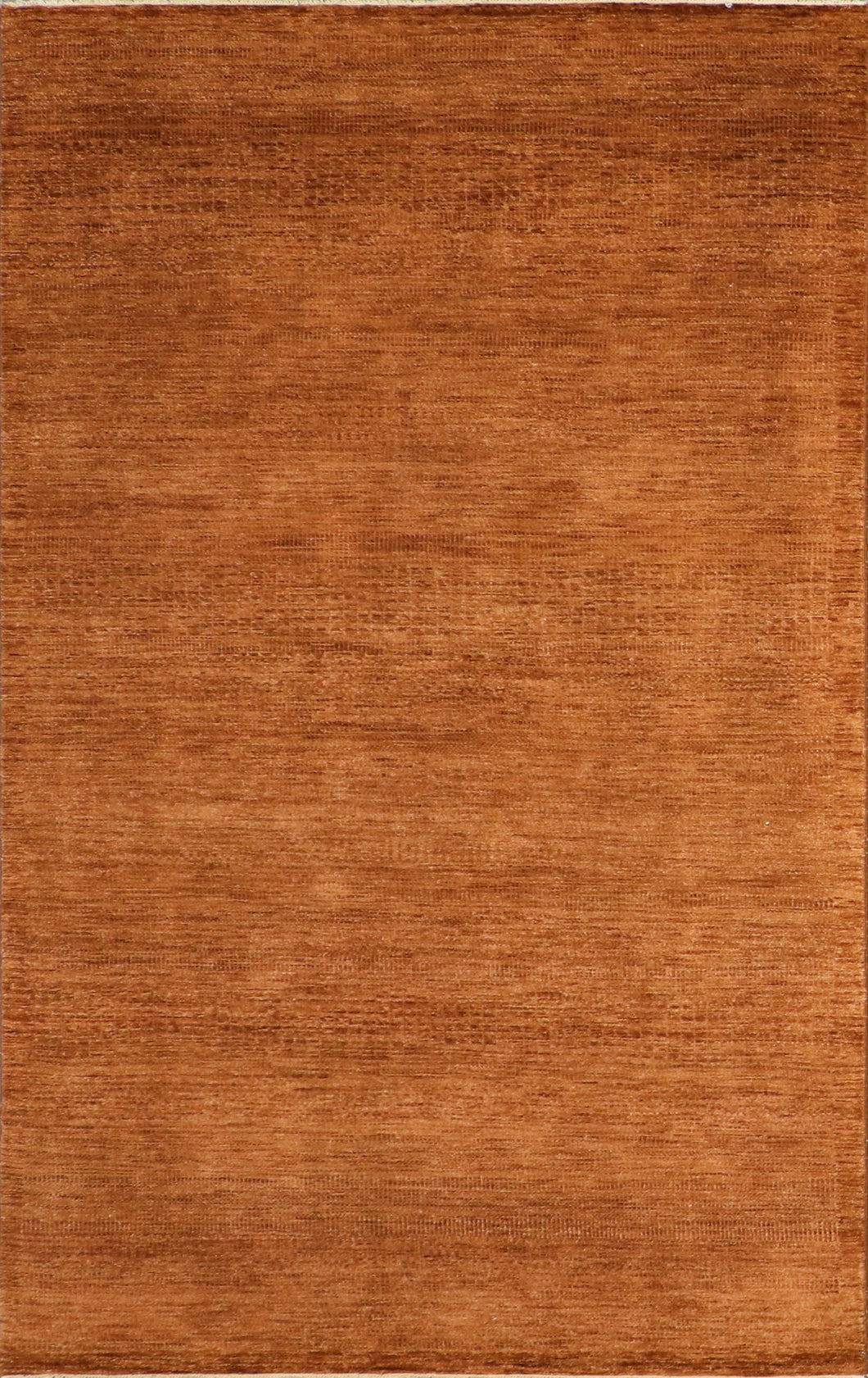"5'3""x8'3"" Contemporary Rust Wool Hand-Knotted Rug"
