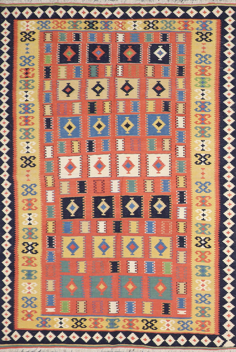 "5'8""x7'11"" Persian Kilim Orange Wool Hand-Knotted Rug"